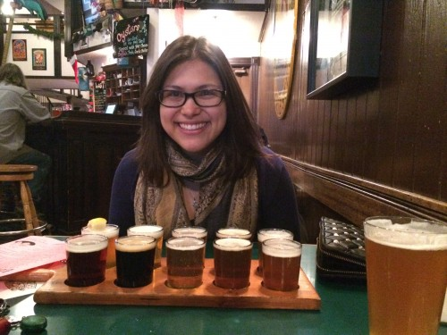 Enjoying the beer flight at the Lost Coast brewery
