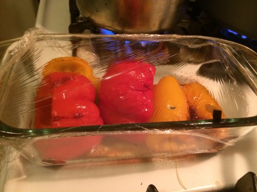 roasted red and yellow peppers for the very full tart