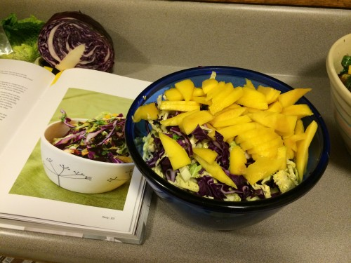 Mango, savoy cabbage, and red cabbage for the sweet winter slaw