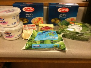 All of the ingredients for conchiglie with yogurt, peas & chile
