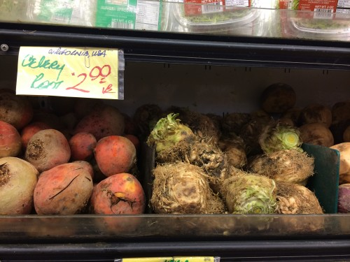 Celeriac sold at Berkeley bowl for $2.99/lb!