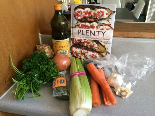Ingredients for vegetarian Parsnip dumpling soup