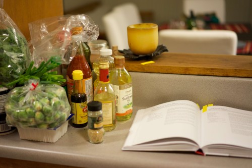 Ingredients for brussels sprouts and tofu dish