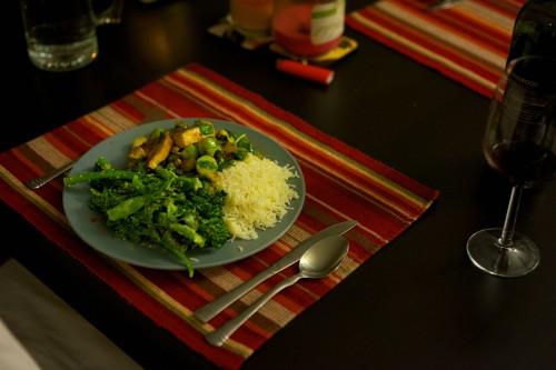 Broccolini and sweet sesame salad, brussels sprouts and tofu, and white rice vegetarian meal