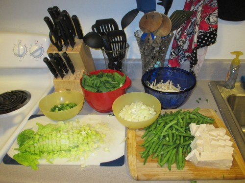 key to making this dish as stress-free as possible: prep station!