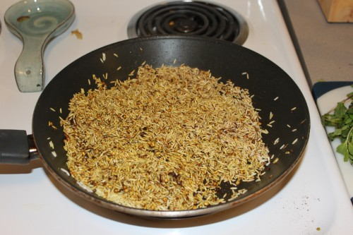 rice with cumin, coriander, turmeric, cinnamon, sugar, allspice, and salt