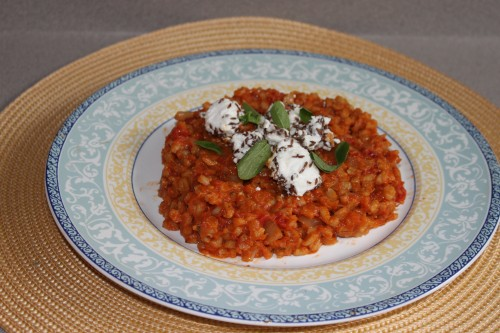 Barley risotto with marinated feta and fresh oregano