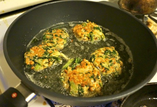 Swiss chard cakes browning