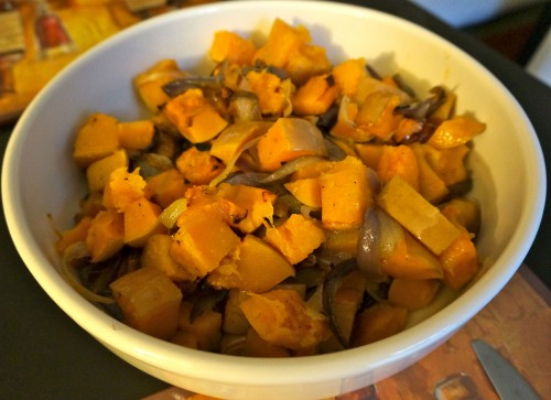 Roasted butternut squash and red onions with olive oil, salt, and pepper