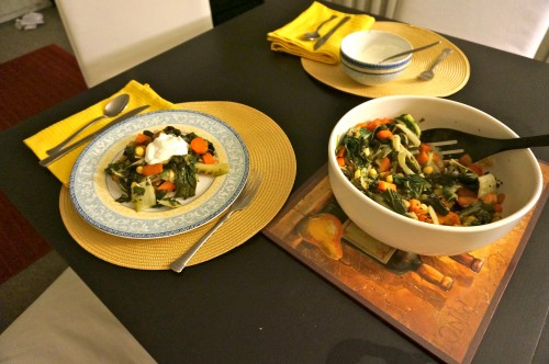 chick pea saute with greek yogurt