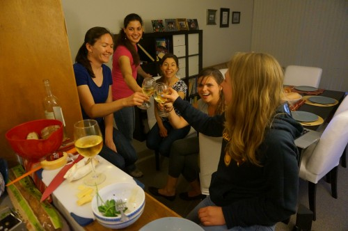 Stella, Meera, Lauren, Simone, and Claire  toasting to ladies and mushrooms!