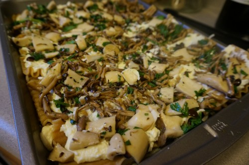 Mushrooms sauteed in butter and herbs layered into the lasagna