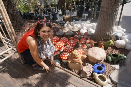 Posing with the cute ceramic mushrooms!