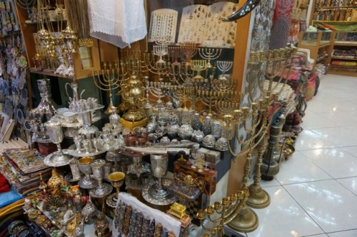 Menorah shop in the old city in Jerusalem