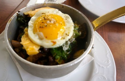 Mushroom casserole with fried egg