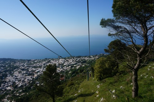 Chairlift ride up the mountain in Capri