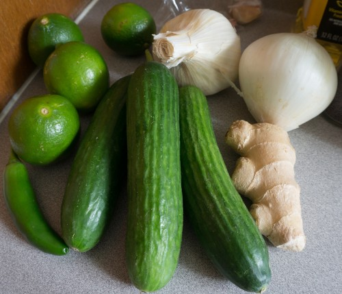 Limes, cucumbers, ginger, garlic, and onion