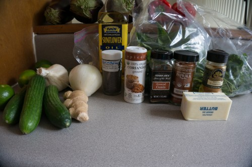 Ingredients for curried red lentils