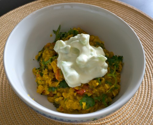 Curried red lentils with Greek yogurt and cucumber