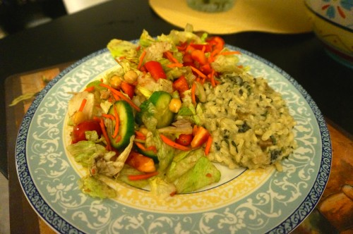 wild mushroom risotto served with salad