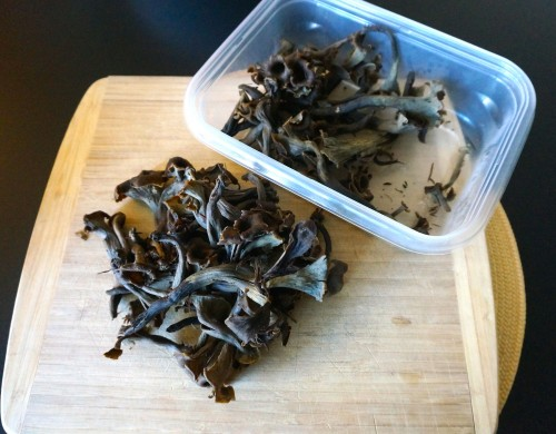 Black trumpet mushrooms that I collected from the redwood tanoak forests in Mendocino