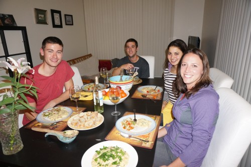 Gavin, Patrick, Meera, and Kari helping me eat the risotto