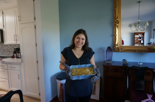 Me showing off my wild mushroom frittata with mushrooms that I foraged myself :)