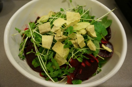 Beet, avocado, and pea salad