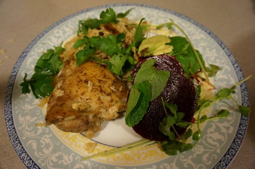 Beet, avocado, and pea salad with chicken with cardmom rice2