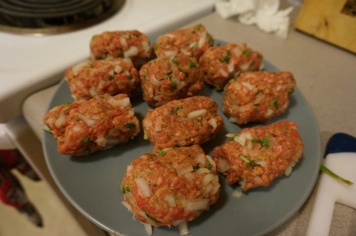 Beef meatballs with onion, parsley, egg, breadcrumbs, allspice, salt, and pepper